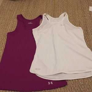 2 sports tank tops. Nike and Under Armour.